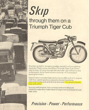 1966 advert for T20B Bantam Cub stating 'Finished in Pacific Blue and white'.