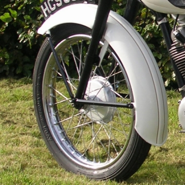 Bantam Cub front wheel and mudguard.